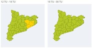 Mapa d'alertes per pluja forta aquest dilluns tarda