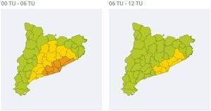 Mapa d'alertes per pluja molt forta aquesta matinada i matí de dilluns