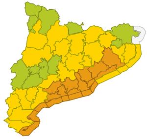 Mapa d'alertes per vent fort i mala mar dimecres