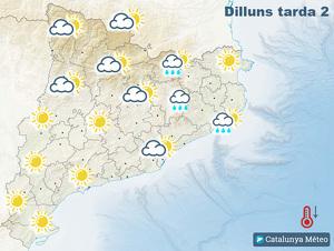 Mapa de previsió per aquest dilluns tarda