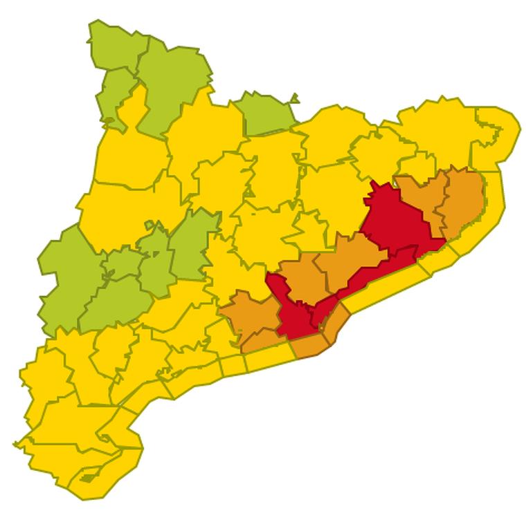 Mapa d'alertes per forts aiguats aquest dimarts