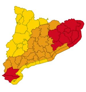 Mapa d'avisos per aiguats i acumulacions molt importants de pluja