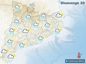 Mapa de la previsió per aquest dilluns fins al migdia, a la tarda millorarà notablement