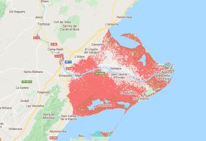 Mapa de les inundacions que patirà el Delta de l'Ebre