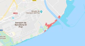 Mapa de les inundacions que patirà la zona del Delta del Llobregat