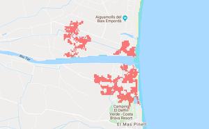 Mapa de les inundacions que patiran els Aiguamolls de l'Empordà