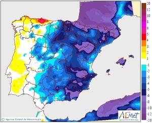 Variació de la temperatura màxima entre dilluns i dimarts