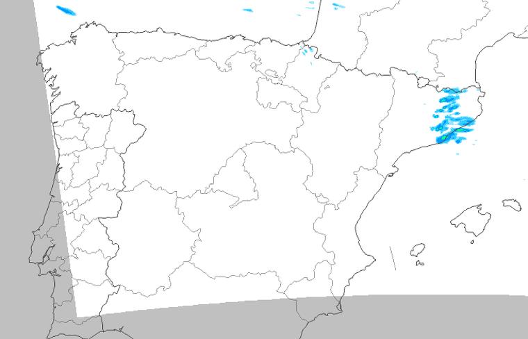 Mapa de pluja prevista la tarda de dimecres