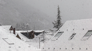 Imatge de la intensitat de la nevada d'aquest matí a Esterri d'Àneu