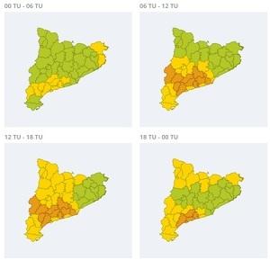 Mapa d'alertes per fort vent dissabte