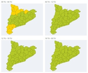 Mapa d'alertes per vent fort aquest dissabte fins a primera hora