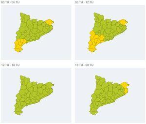 Mapa d'avisos del Servei Meteorològic de Catalunya