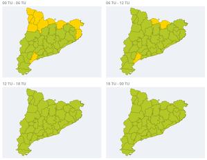Mapa d'avisos per fort vent dimarts
