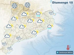 Mapa del temps previst per aquest diumenge