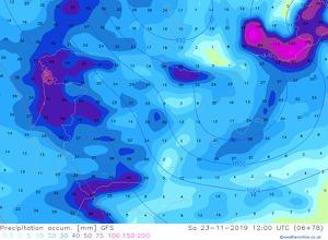 Mapa que mostra la pluja que s'acumularà a Catalunya entre divendres i dissabte