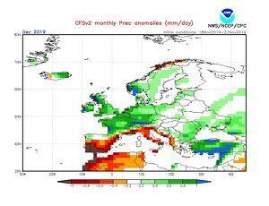 Previsió estacional d'anomalia de precipitació prevista pel mes de desembre