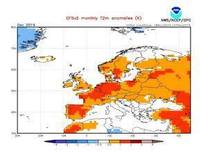 Previsió estacional d'anomalia de temperatures prevista pel mes de desembre
