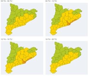 Mapa d'alertes per fort vent dimecres