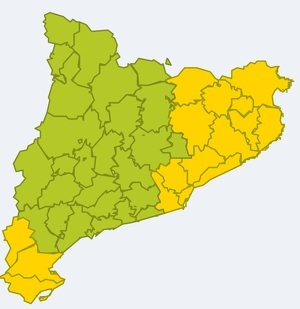 Mapa d'alertes per pluges de fins a 100 l/m² en tot l'episodi