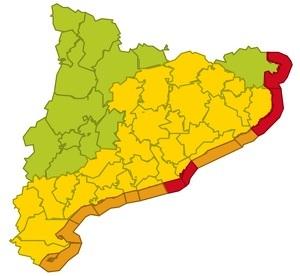 Mapa d'avisos per pluja, vent i mala mar per dimecres