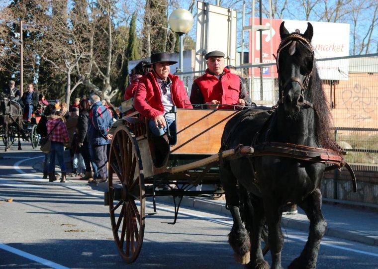 Pla obert d'un carro a dos cavalls durant la festa tradicional dels Tres Tombs de Valls.