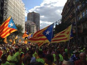 Les imatges del tram de l'Alt Camp en la mobilització de l'11-S a Barcelona