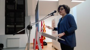 La vallenca Rosa Maria Ibarra al míting de campanya de Valls.