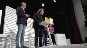 Raül Romeva presentat per Joan Tardà al míting d'Esquerra a Valls.