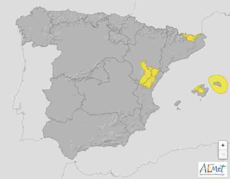 Mapa de avisos en España para este próximo viernes 19 de junio de 2020