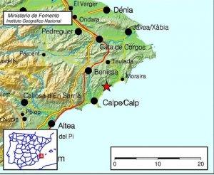 Imatge dels punts on s'ha detectat el terratrèmol