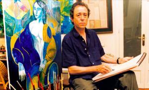 L'artista responsable del cartell en la 36a edició de la Setmana del Cava