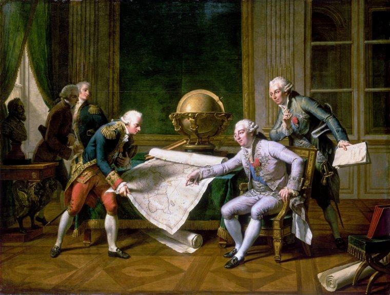 Lluís XVI donant intruccions al capità La Pérouse per al viatge d'exploració al voltant del món
