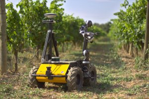 El robot autònom en fase de proves al celler Mas Llunes