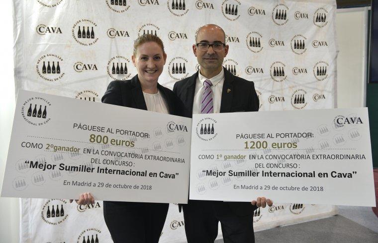 Audry Doré i Josep Pelegrín, segona i primera classificat en la Semificinal Extraordinària Millor Sommelier Internacional en Cava