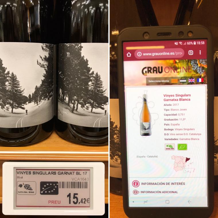 Les etiquetes electròniques de Vins i Licors Grau, permeten amb el mòbil tenir tota la informació del vi per decidir-ne la compra