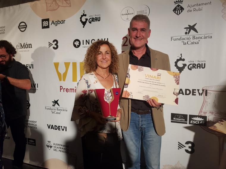 Carme Casacoberta amb el Vinari d'or 2018 pel Gresa Expressió