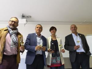 Xoán Elorduy de l'Incavi, Pere Regull, alcalde de Vilafranca, Eva Vicens, directora dels Premis Vinari i Joan Manel Montfort, regidor de Promoció Econòmica