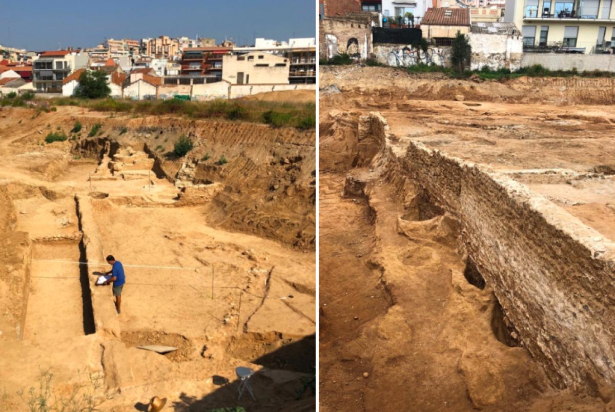 Excavacions a Badalona de l'última troballa d'un vil·la romana on s'hi feia vi