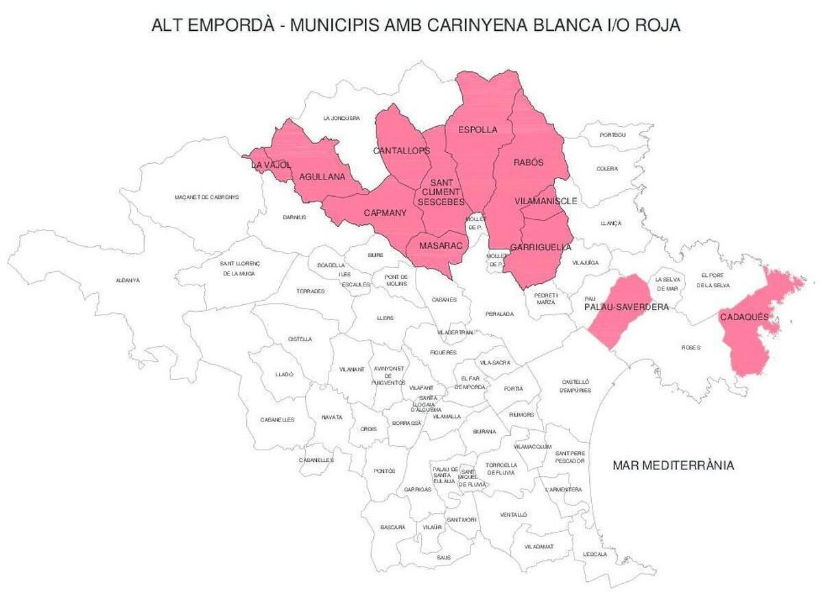 Mapa de municipis de l'Alt Empordà amb carinyena blanca i/o roja