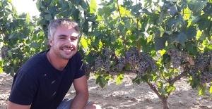 David Pujol amb la carinyena roja a la vinya del Pla