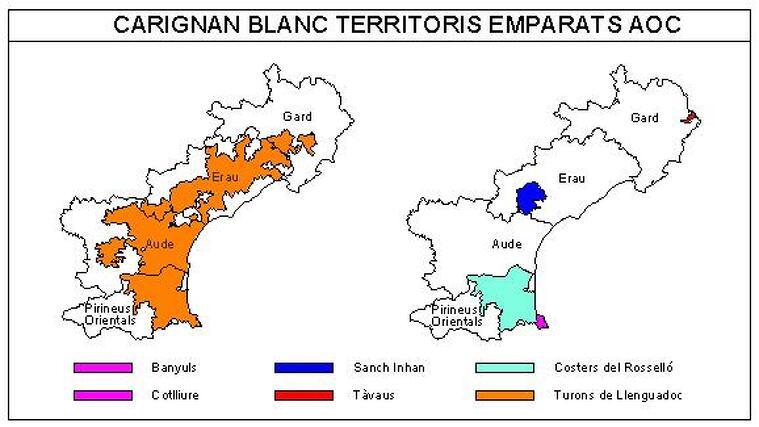Carignan blanc. Territoris emparats AOC