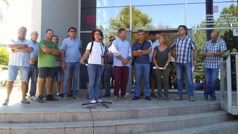 Els representants de les tres associacions agràries que han convocat aquesta protesta