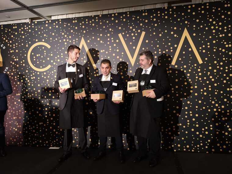 Els tres primers classificats en el concurs al Millor Sommelier del Cava 2019