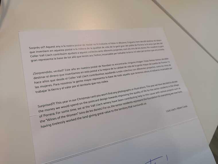 Els diners que es dedicaven a fer la postal enguany es destinaran als projectes amb gent gran de Porrera