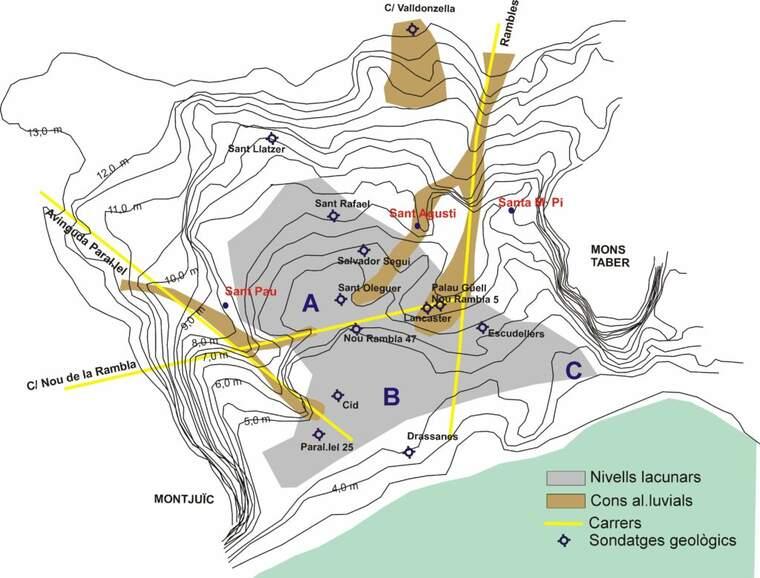 Extensió de l'estany del Cagalell durant el neolític Antic i Mig