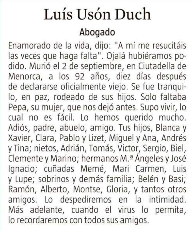 Esquela La Vanguardia