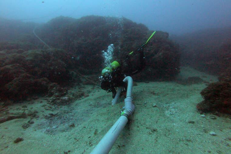 Un arqueòleg destapant les restes del vaixell de mitjans del segle I aC que s'ha descobert a les illes Formigues