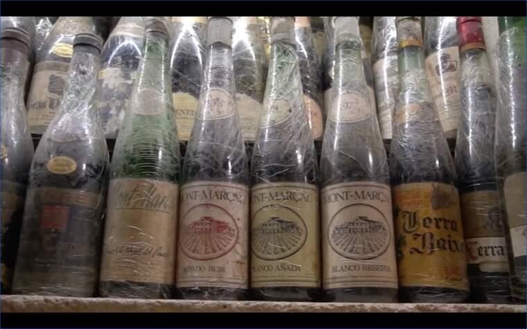 Algunes de les ampolles antigues de vi català que Toni Galfueras conserva en la seva col·lecció del Celler de Gelida