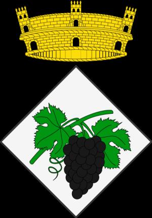 Proposta d'escut Vilella Alta, d'argent, un sarment de vinya pampolat de sinople i fruitat de sable. Per timbre una corona mural de poble.