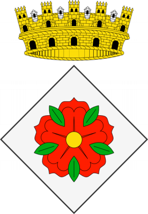 Proposta personal d'escut d'armes per a Reus. De plata, rosa de gules botonada d'or i barbada de sinople.